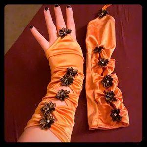Peach sunset burlesque bow fingerless gloves loli